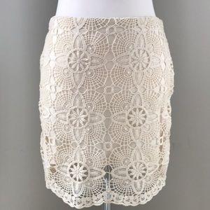 Jack Cream Lace Overlay Skirt Sz 6